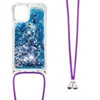 Backcover hoes met koord - iPhone 13 - Glitter Blauw