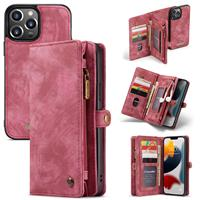 iPhone 13 Pro Max -  - vintage 2 in 1 portemonnee hoes - Rood
