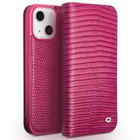 lederen luxe bookcase hoes - iPhone 13 - Croco Roze