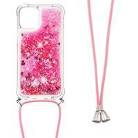 Backcover hoes met koord - iPhone 13 - Glitter Roze