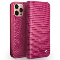 lederen luxe bookcase hoes - iPhone 13 Pro - Croco Roze