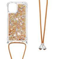 Backcover hoes met koord - iPhone 13 - Glitter Goud