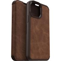 iPhone 13 -  - Strada Case wallet hoes - Bruin + Lunso Tempered Glass
