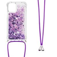 Backcover hoes met koord - iPhone 13 Pro Max - Glitter Paars