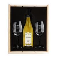 YourSurprise Wijnpakket met wijnglazen - Luc Pirlet Chardonnay - Gegraveerde glazen