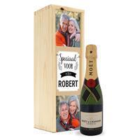 YourSurprise Champagne in bedrukte kist - Moët & Chandon (375ml)