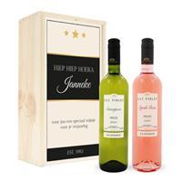 Wijnpakket in kist - Luc Pirlet - Syrah en Sauvignon Blanc