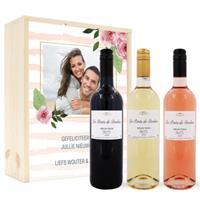 Wijnpakket in kist - Belvy - Wit, rood en rosé