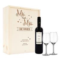 Wijnpakket met wijnglazen - Luc Pirlet Merlot - Gegraveerde deksel
