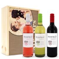 Wijnpakket in kist - Oude Kaap - Wit, rood en rosé