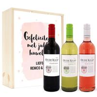 Wijnpakket in kist - Luc Pirlet - Merlot, Syrah en Sauvignon Blanc