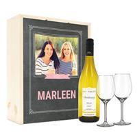 Wijnpakket met wijnglazen - Luc Pirlet Chardonnay - Bedrukte deksel