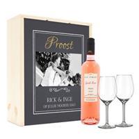 Wijnpakket met wijnglazen - Luc Pirlet Syrah - Bedrukte deksel
