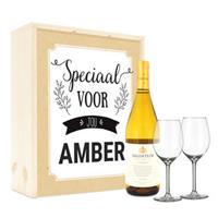 Wijnpakket met wijnglazen - Salentein Chardonnay - Bedrukte deksel