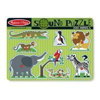 Houten Puzzel + Geluid Dierentuindieren
