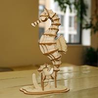 Kikkerland 3D puzzel van hout - Zeepaardje