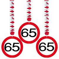 Hangdecoratie verkeersbord 65 jaar 3 stuks