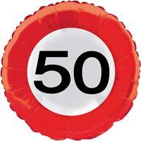 Folieballon Verkeersbord 50 jaar - 43cm