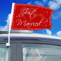 Autovlag Just Married Rood-Wit