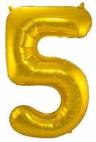 Gouden Folieballon Cijfer 5 - cm