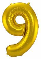 Gouden Folieballon Cijfer 9 - cm