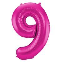 Magenta Cijferballon Cijfer 9 - cm