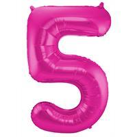 Roze Folieballon Cijfer 5 - cm