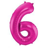 Magenta Folieballon Cijfer 6 - cm