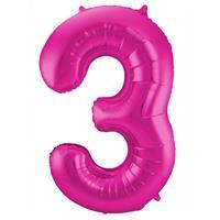 Magenta Folieballon Cijfer 3 - cm