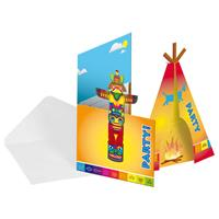 8 kartonnen indiaan uitnodigingen met enveloppen