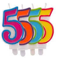 Kaars cijfer 5 in vrolijke kleuren