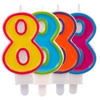 Kaars cijfer 8 in vrolijke kleuren