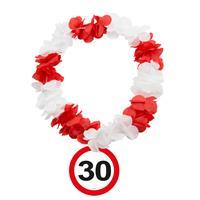 Hawaiikrans 30 jaar rood-wit