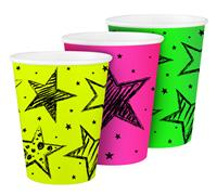 Bekertjes Neon met sterren 6 stuks