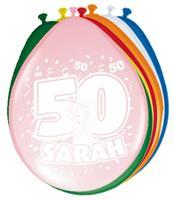 Ballonnen 50 jaar Sarah Rainbow 8 stuks