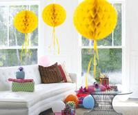 Honeycomb decoratie 30cm geel