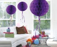 Honeycomb decoratie 30cm donkerpaars
