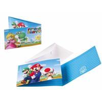 Disney Super Mario uitnodigingen met enveloppe