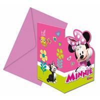 Disney Minnie Mouse verjaardag uitnodigingen 6 stuks