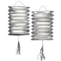 Fun & Feest Zilveren lampionnen 2 stuks