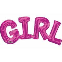 Fun & Feest Folie ballon meisje geboren roze 55 cm