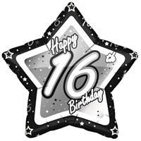 Fun & Feest 16 jaar folieballon black/silver
