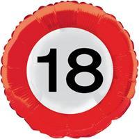Folie ballonnen verkeersbord 18 jaar