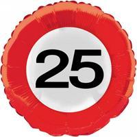 Verkeersbord helium ballon 25 jaar