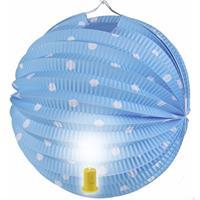 Fun & Feest Lampion blauw met witte stippen 20 cm