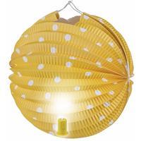 Fun & Feest Lampion geel met witte stippen 20 cm