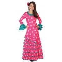 Bellatio Roze Flamenco jurk voor meiden Multi