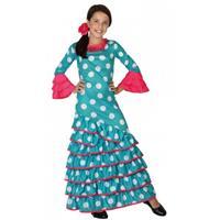 Bellatio Blauwe Flamenco jurk voor meiden Multi