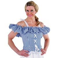 Bellatio Oktoberfest - Tiroler blouse Carmen blauw geruit 36 (XS) Multi