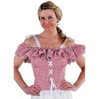 Bellatio Oktoberfest - Tiroler blouse Carmen rood geruit 36 (XS) Rood